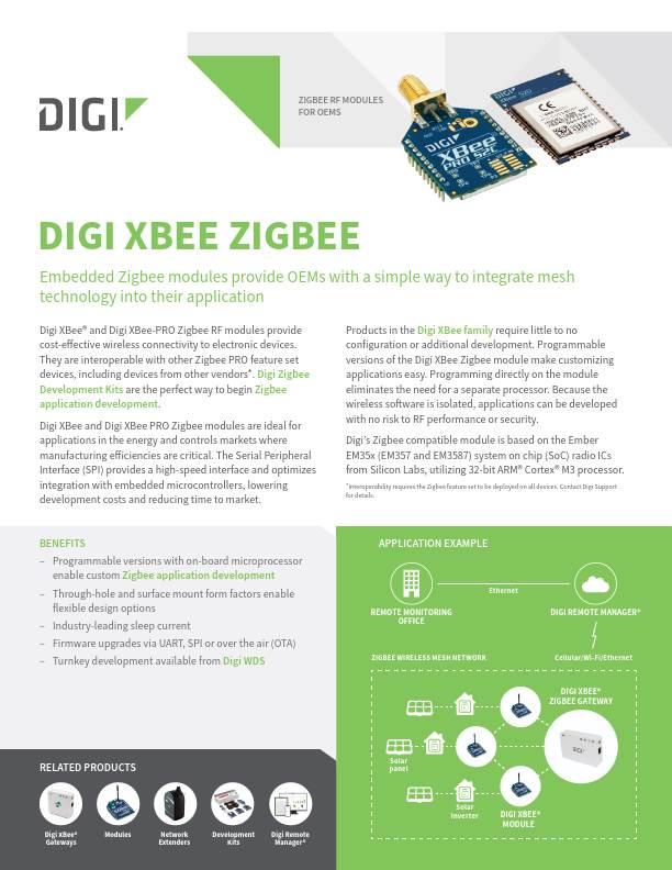 Digi XBee Zigbee Datasheet