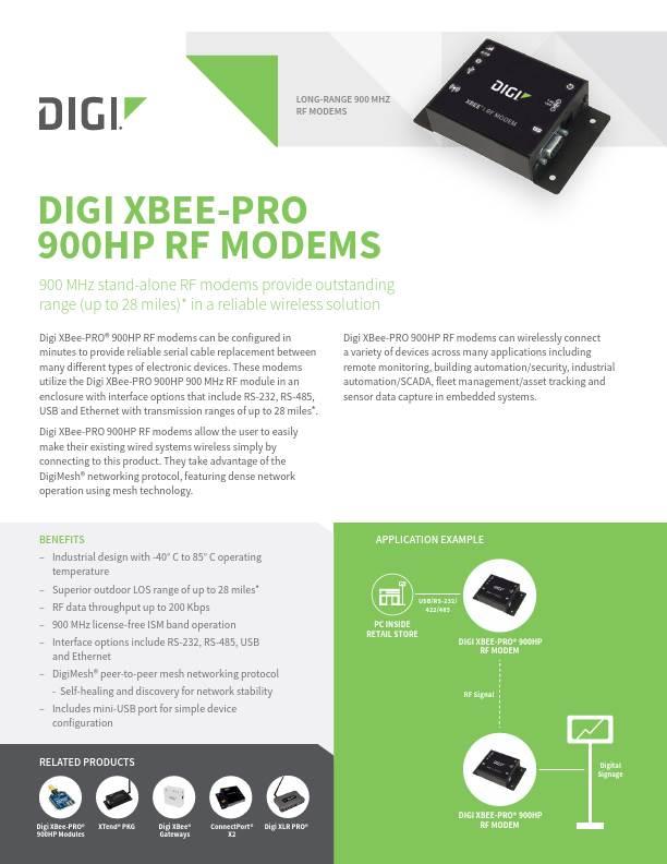 Digi XBee-PRO 900HP RF modems datasheet