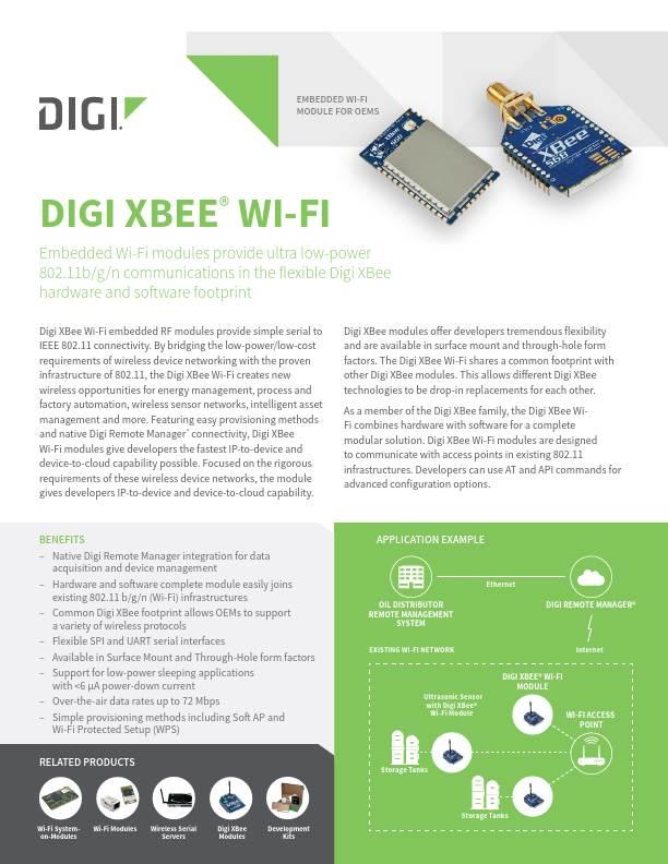 XBee Wi-Fi Product Datasheet