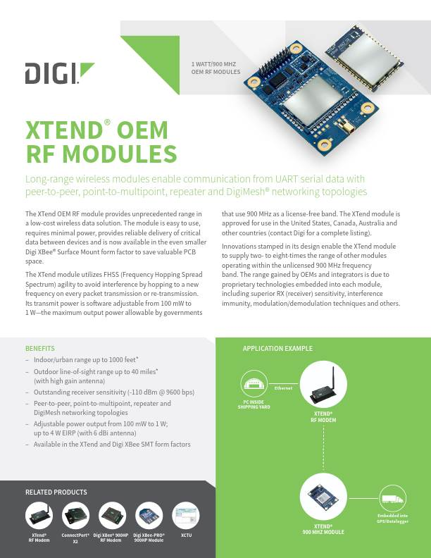 Xtend OEM RF Modules Datasheet cover page