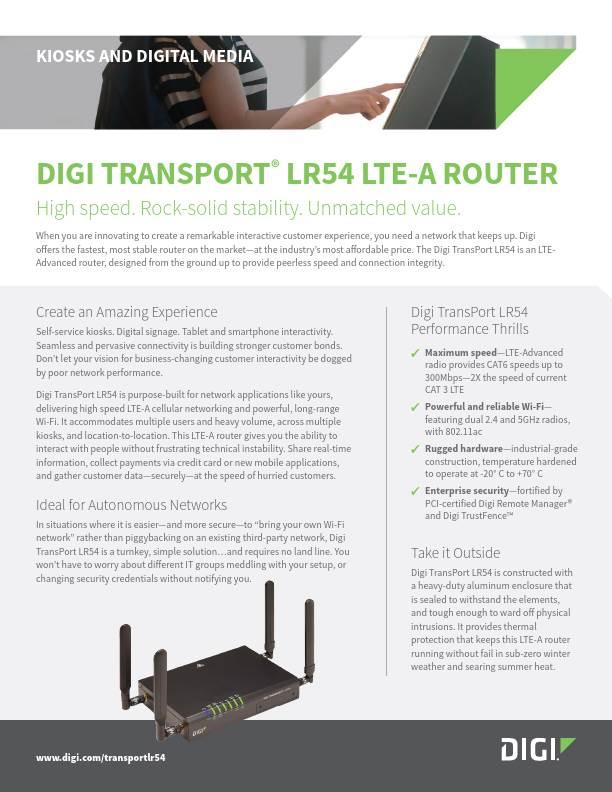 Digi TransPort LR54 for Kiosks and Digital Media