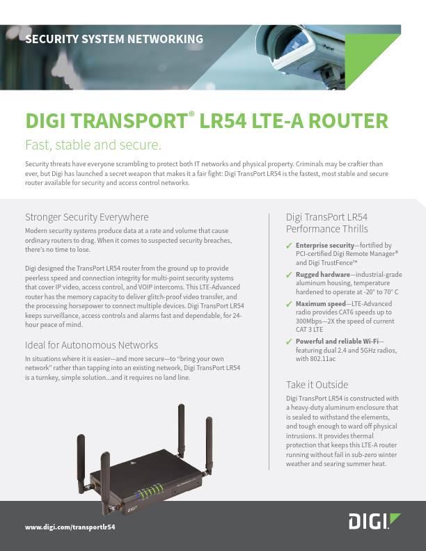 Digi TransPort LR54 for Security System Networking
