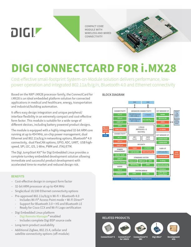 Digi ConnectCard for i.MX28 Datasheet