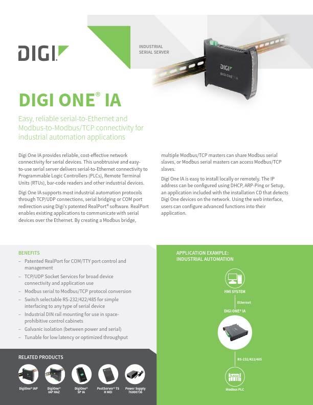 Digi One IA Datasheet