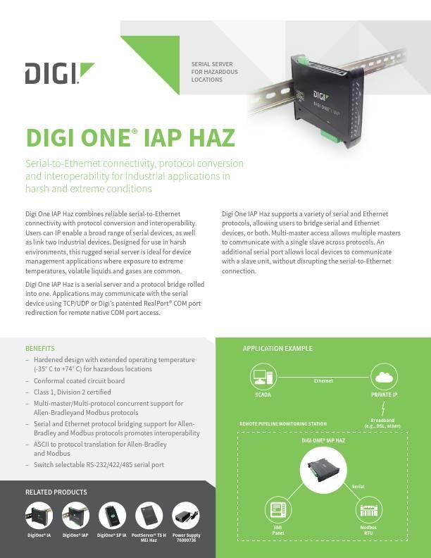 Digi One IAP HAZ Datasheet