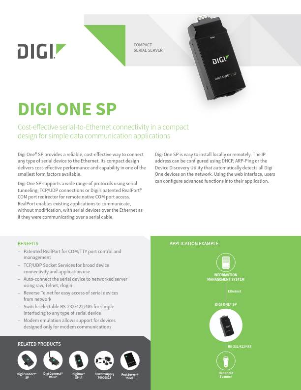 Digi One SP Datasheet