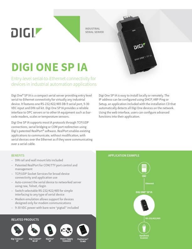 Digi One SP IA datasheet