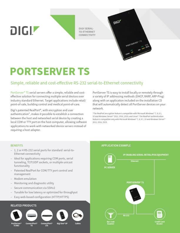 Digi PortServer TS datasheet