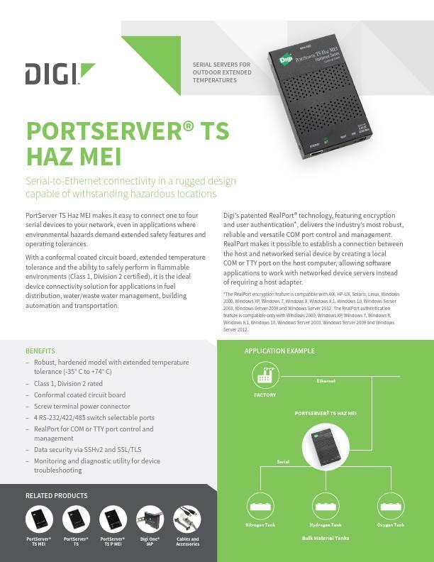 PortServer TS Haz MEI Datasheet