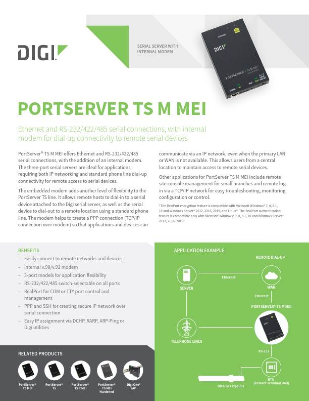 Digi PortServer TS M MEI datasheet