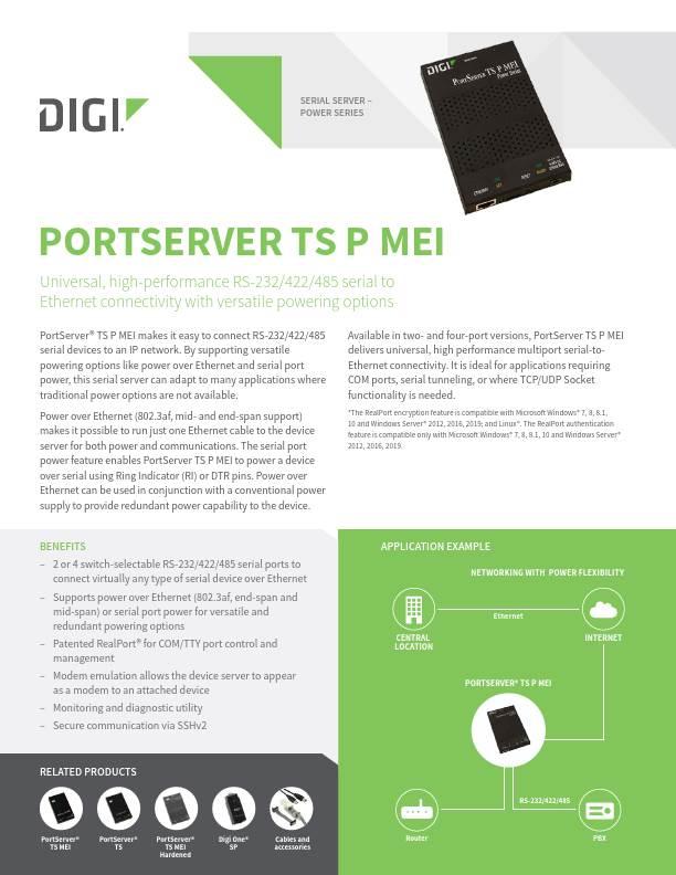 Digi PortServer TS P MEI datasheet