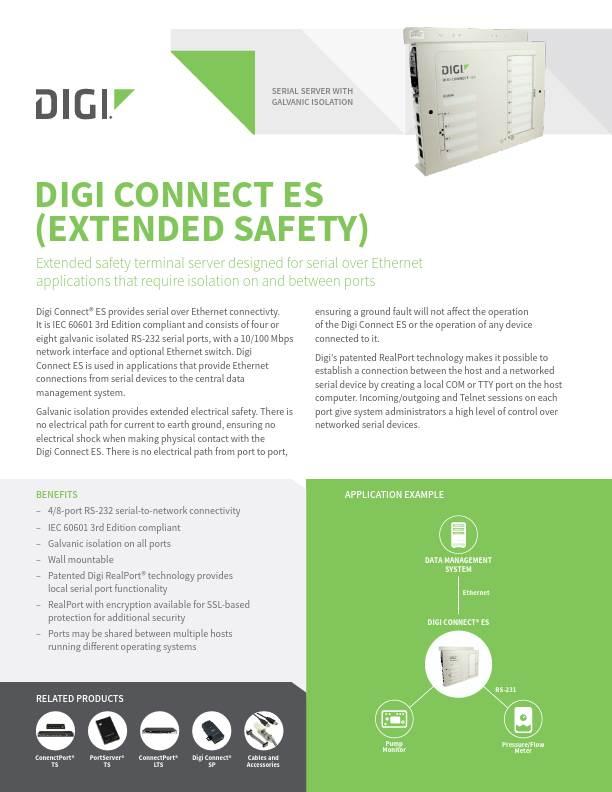 Digi Connect ES (Extended Safety) datasheet