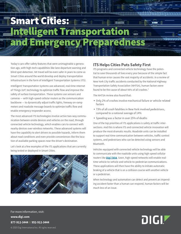Smart Cities: Intelligent Transportation and Emergency Preparedness