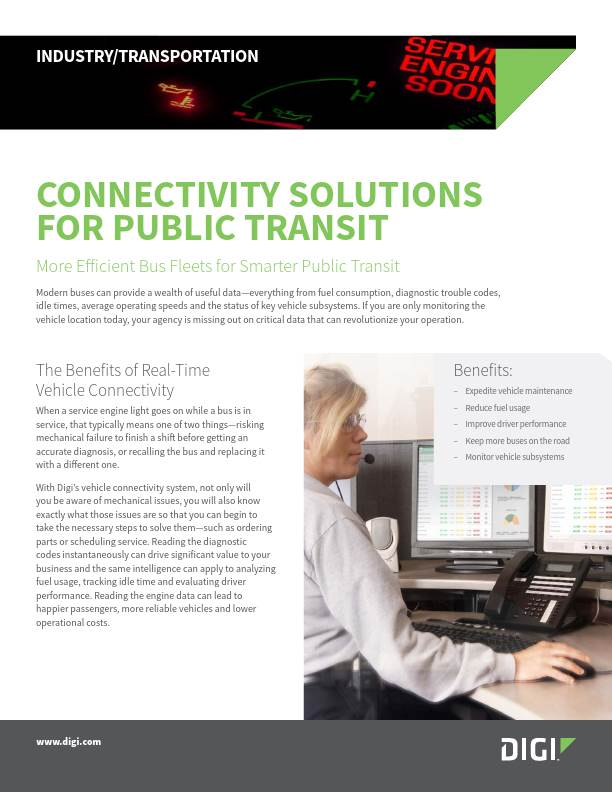 Connectivity Solutions for Public Transit with Digi WR44 R Cellular Router and Digi Wireless Vehicle Adapter