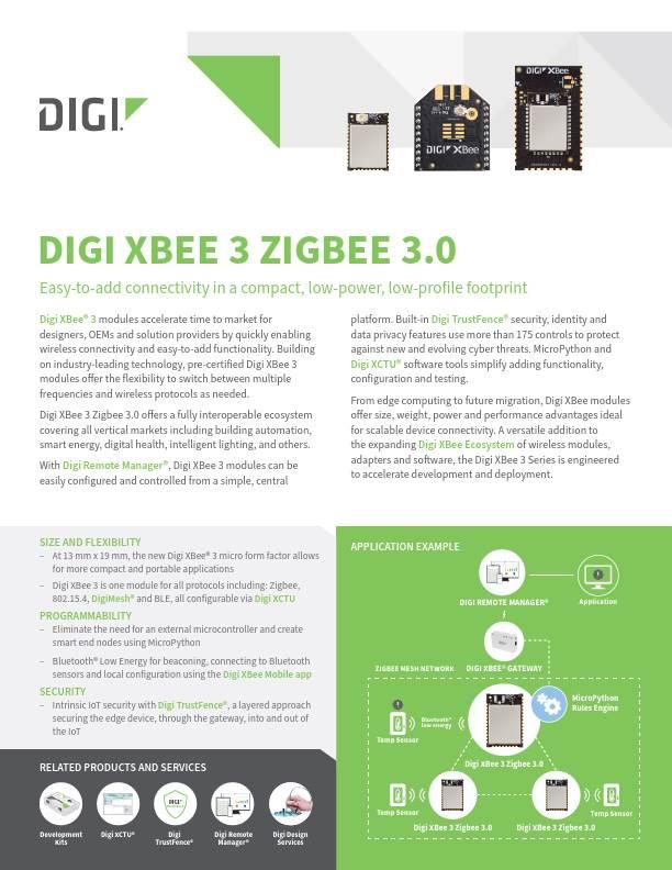 Digi XBee 3 Zigbee 3.0 Datasheet