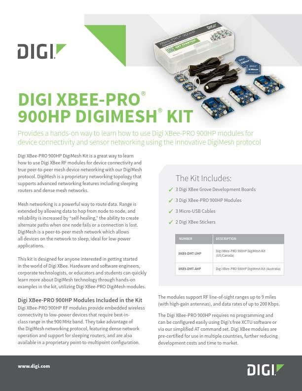 XBee-PRO 900HP DigiMesh Kit Datasheet