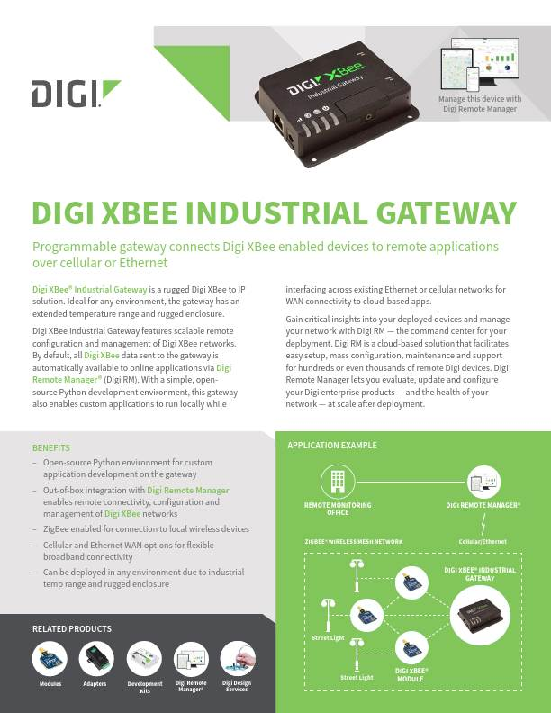 Digi XBee Industrial Gateway Datasheet
