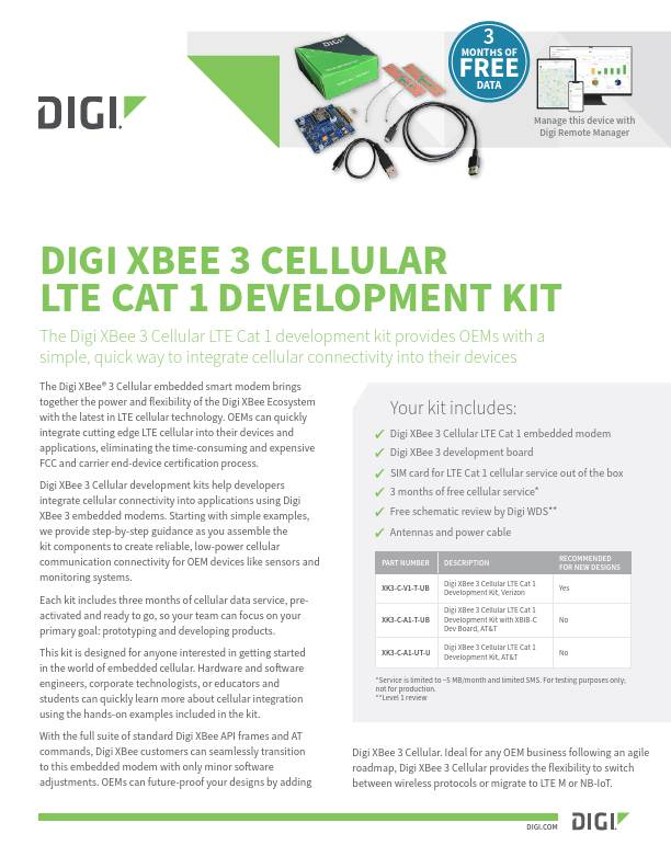Digi XBee 3 Cellular LTE Cat 1 development kit datasheet
