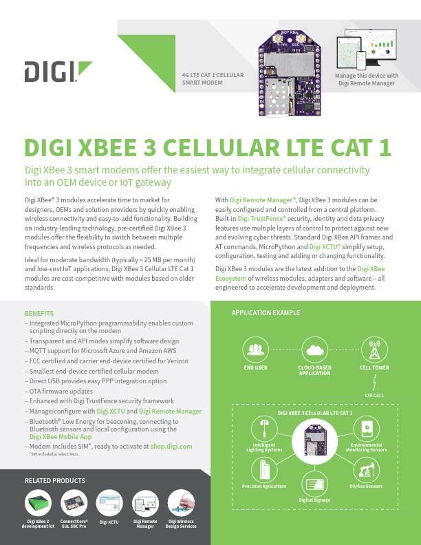 Digi XBee 3 Cellular LTE Cat 1 Datasheet