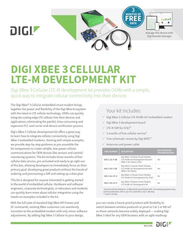 Digi XBee 3 Cellular LTE-M development kit datasheet cover page